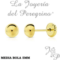 PENDIENTES MEDIA BOLA 5MM