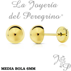 PENDIENTES MEDIA BOLA 6MM